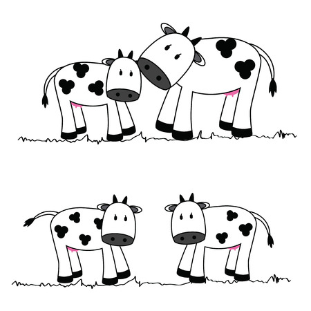 illustration of cute cows on a white background Vector