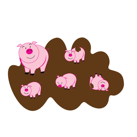 mumps: illustration of cute piggy on a white background Illustration