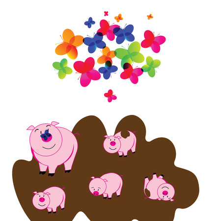 mumps: illustration of cute piggy on a white background Illustration