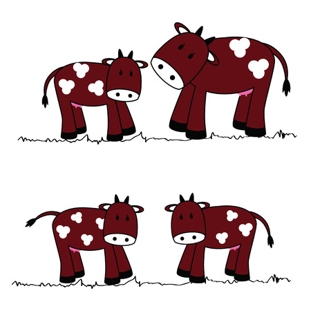 balck: illustration of cute cows on a white background
