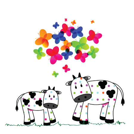 balck and white: illustration of cute cows on a white background