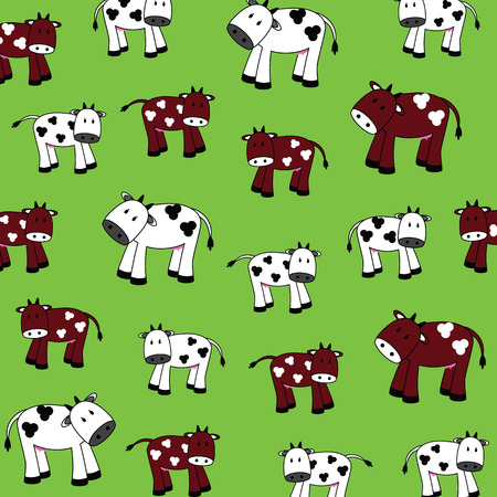 illustration of cute cows on a green background Vector