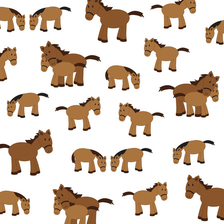 illustration of cute horses on a white background Illustration