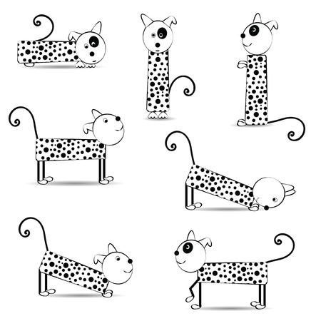 Cute and funny dogs in black and white color Illustration