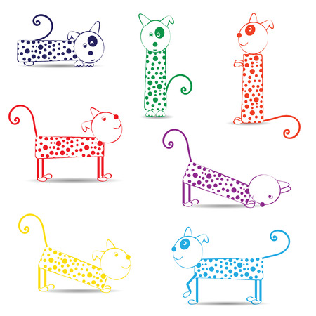 Cute and funny dogs in green, red and blue colors Vector