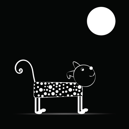 Cute and funny dog night of the full moon Vector