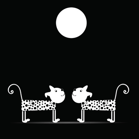 Cute and funny dogs night of the full moon