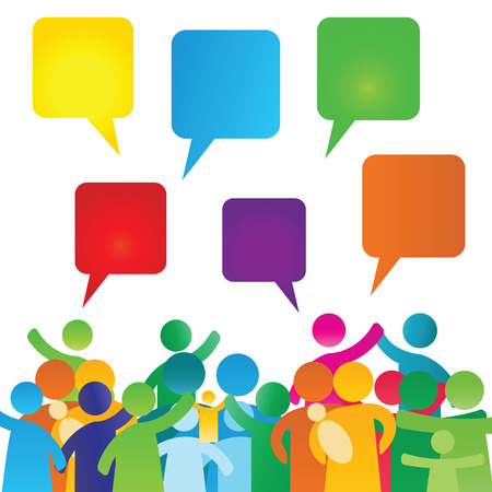 chat icons: Colorful, empty speech bubbles and people group