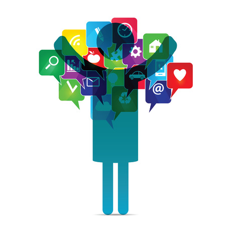 Colorful social media icons in speech bubbles
