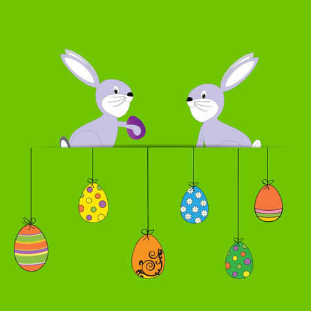 Cute Easter card with happy rabbits and eggs Illustration