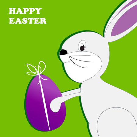 Cute Easter card with happy rabbit and egg