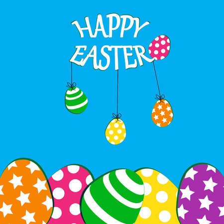 Cute Easter card with colorful eggs on blue background