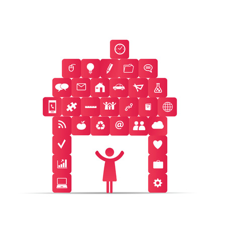 Abstract house presented as icons social network Illustration