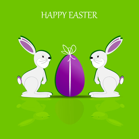 Cute Easter card with happy rabbits and egg Illustration
