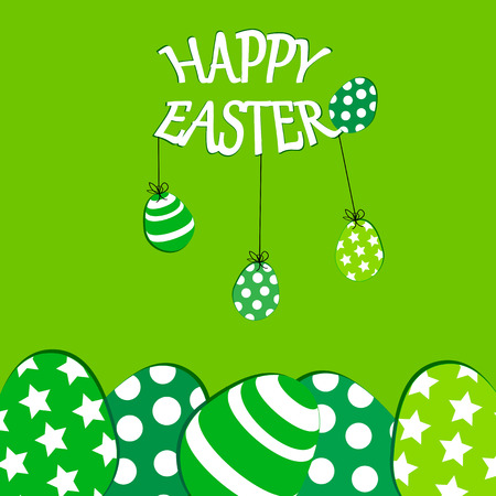 Cute Easter card with colorful eggs on green background Illustration