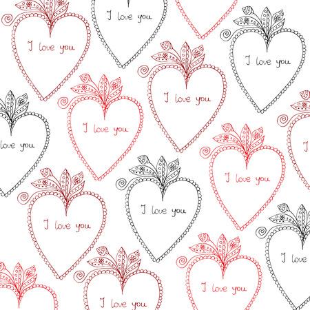Heart and floral design, Hand Drawn Illustration Illustration