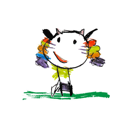 Cute and colorful childrens illustration of a abstarct cat