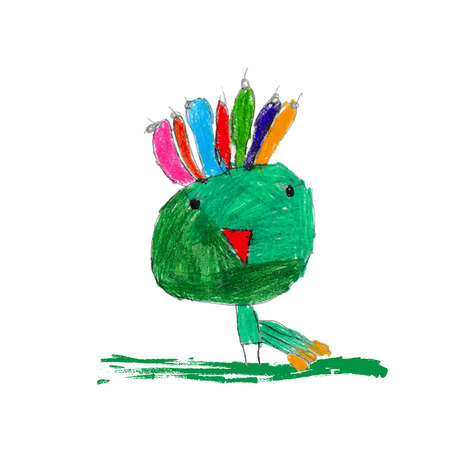 Cute and colorful childrens illustration of a peacock