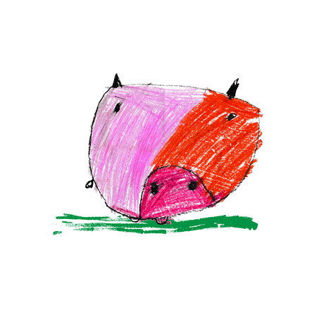 Cute and colorful childrens illustration of a abstarct pig