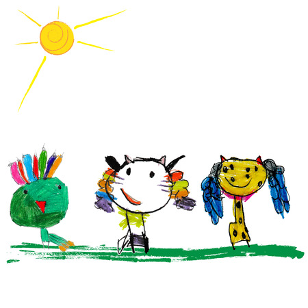 Cute and colorful childrens illustration of a abstarct cat, peacock and giraffe Vector