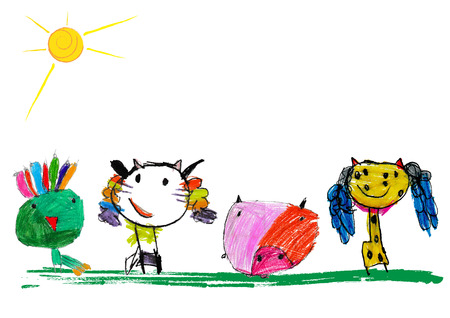 Cute and colorful childrens illustration of a abstarct cat, pig, peacock and giraffe Stock Photo