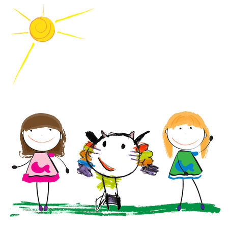 Cute and colorful childrens illustration of a abstarct cat with girls illustration