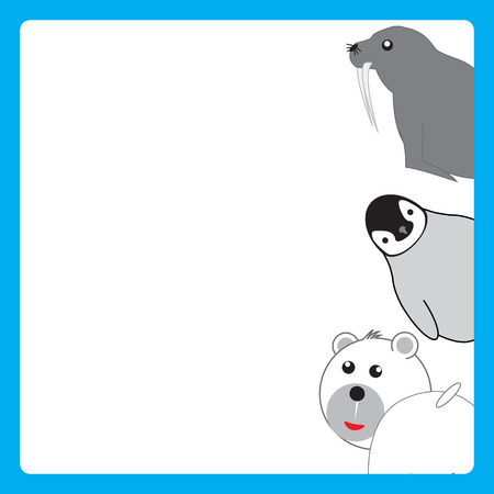 Cute, abstract frame with cheerful polar animals