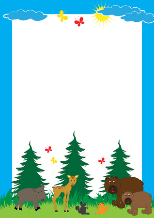 Cute, abstract frame with cheerful forest animals Illustration