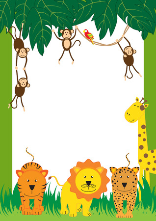 young animal: Cute, abstract frame with cheerful tropical animals