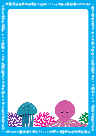 Cute, abstract frame with cheerful sea animals