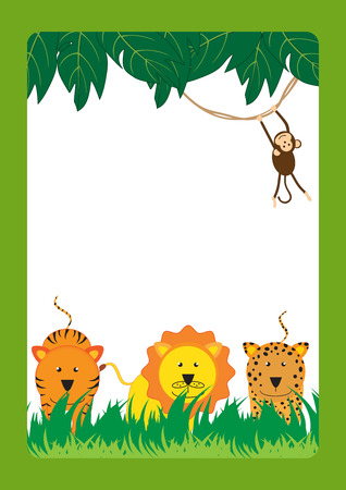 Cute, abstract frame with cheerful tropical animals