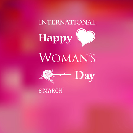 March 8 Womens Day card with roses on pink background. Vector