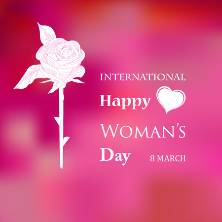 March 8 Womens Day card with roses on pink background.