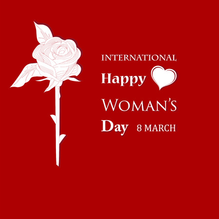 March 8 Womens Day card with roses on red background.