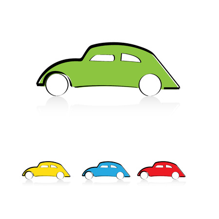 Cute cartoon car in color green, blue and red Vector