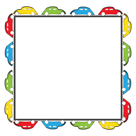 toy car: Cute kids frame with colorful cars