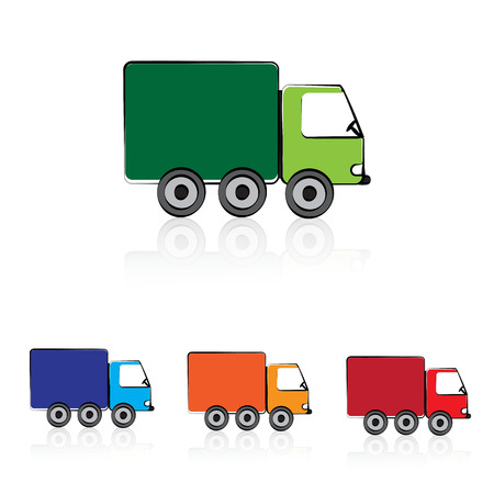 Cute cartoon car in color green, blue and red