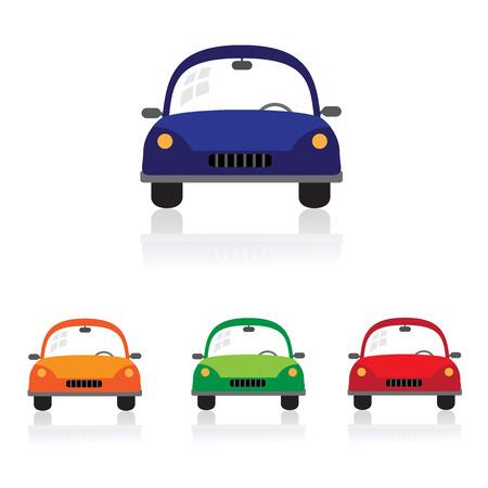 carritos de juguete: Coche lindo del dibujo animado en color verde, azul y rojo