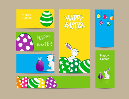 Cute easter elements - cards, banner and folder