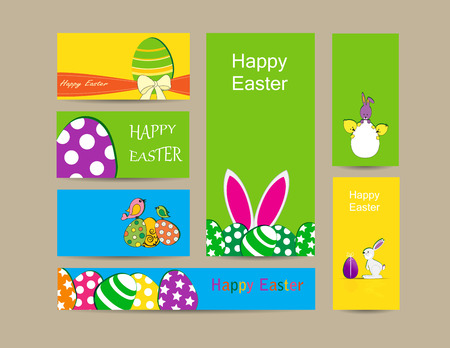 Cute easter elements - cards, banner and folder Vector