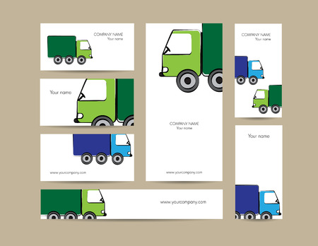 toy car: Cute business elements - cards, banner and folder