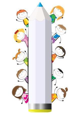 Gelukkig, leuk cartoon kinderen met krijt als een banner