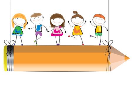 nursery school: Happy, cute cartoon kids with crayon as a  banner
