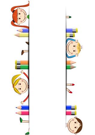 belles jambes: Heureux, enfants mignons de bande dessinée avec bannière blanche