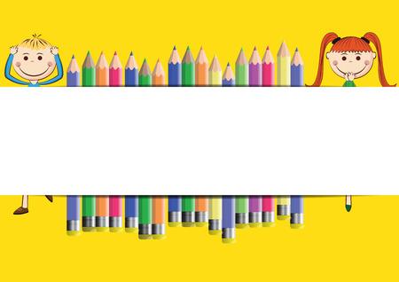 白い旗と幸せ、かわいい漫画の子供たち
