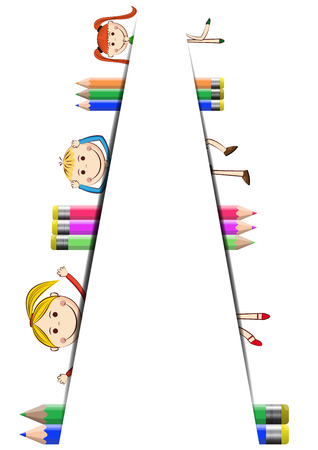 Happy, cute cartoon kids with white banner Vector