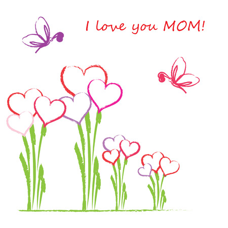 mothers day background: Colorful and cute card on mother day