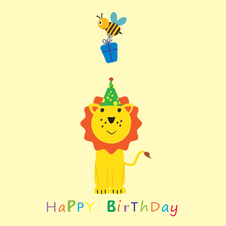 bee party: Colorful birthday card with funny and sweet animal