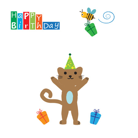 Colorful birthday card with funny and sweet animal Vector