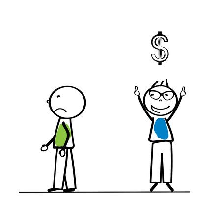persona feliz: Concepto de negocio abstracto con sencillo persona de dibujos animados Vectores